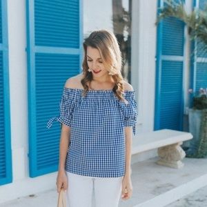 J. Crew Tops - ❤️HP❤️ J. Crew Petite Gingham Off-The Shoulder Top